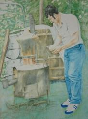 Schnapsbrenner Pastellstifte auf Papier 70 x 50 cm 1986